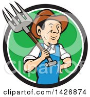 Clipart Of A Retro Cartoon Male Farmer Or Worker Holding A Pitchfork Over His Shoulder Emerging From A Black White And Green Circle Royalty Free Vector Illustration
