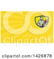 Clipart Of A Retro Cartoon White Male Plumber Or Handy Man Holding A Monkey Wrench And Yellow Rays Background Or Business Card Design Royalty Free Illustration