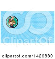Clipart Of A Retro Cartoon White Male Plumber Or Handy Man Holding A Monkey Wrench In Folded Arms And Blue Rays Background Or Business Card Design Royalty Free Illustration