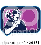 Clipart Of A Retro Male Plumber Holding A Monkey Wrench Over His Shoulder In A Blue White And Purple Rectangle Royalty Free Vector Illustration