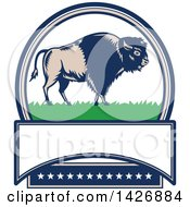 Clipart Of A Retro Woodcut American Buffalo Bison On Grass In An Oval With Text Space And Stars Royalty Free Vector Illustration