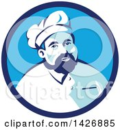 Retro Male Chef With A Beard Wearing A Toque In A Blue Circle