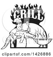 Retro Black And White Male Chef Carrying And Alligator To A Football Shaped Bbq Under Grill Text Flames