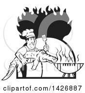 Clipart Of A Retro Black And White Male Chef Carrying And Alligator To A Football Shaped Bbq Grill Under Flames Royalty Free Vector Illustration