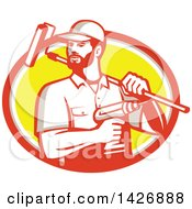 Poster, Art Print Of Retro Handyman Holding A Paint Roller Over His Shoulder And A Cordless Drill In Hand Emerging From An Orange Gray White And Yellow Oval