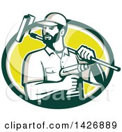 Clipart Of A Retro Handyman Holding A Paint Roller Over His Shoulder And A Cordless Drill In Hand Emerging From A Green Taupe White And Yellow Oval Royalty Free Vector Illustration by patrimonio