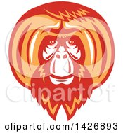 Clipart Of A Retro White Red And Orange Orangutan Monkey Face Royalty Free Vector Illustration
