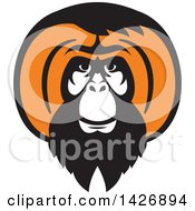 Clipart Of A Retro Black And Orange Orangutan Monkey Face Royalty Free Vector Illustration
