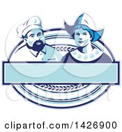 Clipart Of A Retro Male Baker And Dutch Lady In A Blue And White Oval With A Blank Banner Royalty Free Vector Illustration