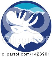 Clipart Of A Retro Moose Head In A Blue Mountain Circle Royalty Free Vector Illustration