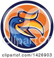 Clipart Of A Retro Cartoon Hornbill Or Bucerotidae Bird Mascot In A Blue White And Orange Circle Royalty Free Vector Illustration by patrimonio