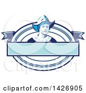Clipart Of A Retro Dutch Woman Wearing A Bonnet In A Blue And White Oval Royalty Free Vector Illustration