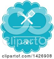 Clipart Of A Retro Crossed Spatula And Flogger Whip In A White And Blue Rosette Royalty Free Vector Illustration