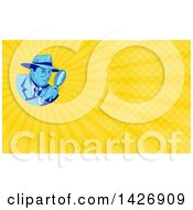 Clipart Of A Sketched Male Detective Looking Through A Magnifying Glass And Yellow Rays Background Or Business Card Design Royalty Free Illustration