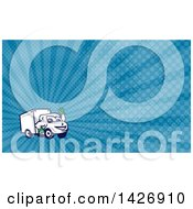 Clipart Of A Cartoon Happy Delivery Van Mascot Waving And Blue Rays Background Or Business Card Design Royalty Free Illustration by patrimonio