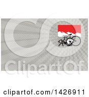 Clipart Of A Retro Male Cyclocross Athlete Running And Carrying Bicycle On His Shoulders In The Mountains And Gray Rays Background Or Business Card Design Royalty Free Illustration