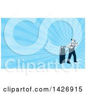 Clipart Of A Retro Full Length Male Welder Looking Back Over His Shoulder And Blue Rays Background Or Business Card Design Royalty Free Illustration