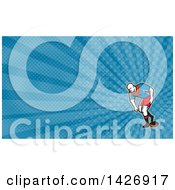 Clipart Of A Retro Male Rugby Player And Blue Rays Background Or Business Card Design Royalty Free Illustration by patrimonio