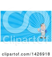 Poster, Art Print Of Cartoon Male Oven Cleaner Technician In Overalls Giving A Thumb Up And Blue Rays Background Or Business Card Design