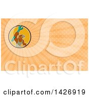 Clipart Of A Retro Hawk Mechanic Man Wearing Overalls And Holding Up A Spanner Wrench And Orange Rays Background Or Business Card Design Royalty Free Illustration