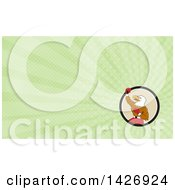 Clipart Of A Cartoon Bald Eagle Man Boxer Pumping His Fist And Green Rays Background Or Business Card Design Royalty Free Illustration