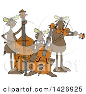 Clipart Of A Cartoon Trio Of Moose Playing An Upright Bass Cello And Violin Or Viola Royalty Free Vector Illustration by djart