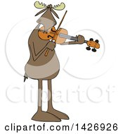 Cartoon Musician Moose Playing A Violin Or Viola