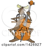 Cartoon Musician Moose Playing A Cello