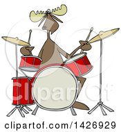 Cartoon Musician Moose Playing The Drums
