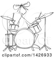 Cartoon Black And White Lineart Musician Moose Playing The Drums
