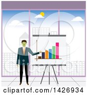 Clipart Of A Green Faced Corporate Business Man Presenting A Company Growth Chart Royalty Free Vector Illustration