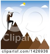 Clipart Of A Corporate Business Man Standing On Mountain Peaks And Looking Out Through A Telescope Royalty Free Vector Illustration