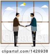 Clipart Of Corporate Business Men Shaking Hands Against A Window Overlooking A City Royalty Free Vector Illustration
