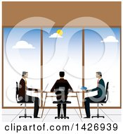 Clipart Of A Meeting Of Three Corporate Business Men Sitting At A Table And Using Gadgets Royalty Free Vector Illustration