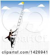 Clipart Of A Corporate Business Man Climbing A Ladder Into The Sky Against A City Royalty Free Vector Illustration