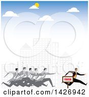 Clipart Of A Corporate Business Man Racing Competitors Through A City Royalty Free Vector Illustration