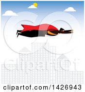 Clipart Of A Corporate Super Business Man Flying Over A City Royalty Free Vector Illustration