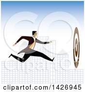 Clipart Of A Corporate Business Man Running Towards A Bullseye Against A City Royalty Free Vector Illustration