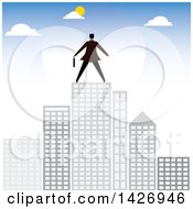 Clipart Of A Rear View Of A Corporate Business Man Atop City Skyscrapers Royalty Free Vector Illustration by ColorMagic