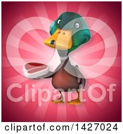 Clipart Of A 3d Mallard Drake Duck Royalty Free Vector Illustration