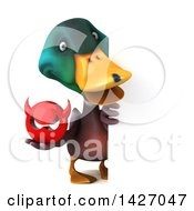 Clipart Of A 3d Mallard Drake Duck On A White Background Royalty Free Vector Illustration