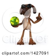 Clipart Of A 3d Brown Chocolate Lab Dog On A White Background Royalty Free Vector Illustration