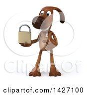 Clipart Of A 3d Brown Chocolate Lab Dog On A White Background Royalty Free Vector Illustration by Julos