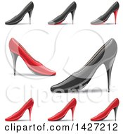 Clipart Of Red And Black Pointy Toe High Heel Shoes With Shadows Royalty Free Vector Illustration