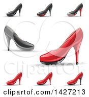 Clipart Of Red And Black Rounded Toe High Heel Shoes With Shadows Royalty Free Vector Illustration