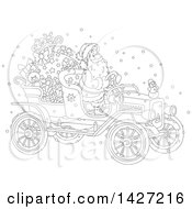 Cartoon Black And White Lineart Christmas Santa Claus Driving A Vintage Covertible Car