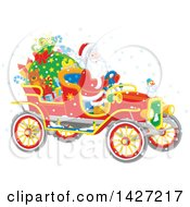 Christmas Santa Driving A Vintage Covertible Car