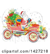 Clipart Of A Cartoon Christmas Santa Claus Driving A Vintage Covertible Car Royalty Free Vector Illustration