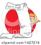 Clipart Of A Cartoon Caucasian Girl Peeking Around A Very Long Dear Santa Letter Over A Red Circle Royalty Free Vector Illustration