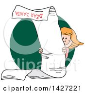 Clipart Of A Cartoon Caucasian Girl Peeking Around A Very Long Dear Santa Letter Over A Green Circle Royalty Free Vector Illustration